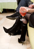 женское стеклянное вино руки Стоковое Фото