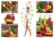 Женское тело с стрелками цикла Сало теряет, здоровые еда и концепция питания Стоковая Фотография