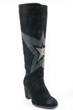 Женской черной ботинки высоко-накрененные замшей Стоковые Изображения RF