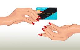 Женственная грациозно рука держит кредитную карточку иллюстрация штока