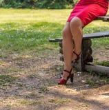 Женственные пересеченные ноги зрелой женщины стоковое изображение rf