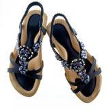 Женственные sparkly плоские сандалии Стоковые Фото