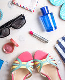 Женственный комплект лета аксессуаров Стоковое Изображение