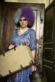 женщина авангарда способа багажа самомоднейшая Стоковое Фото