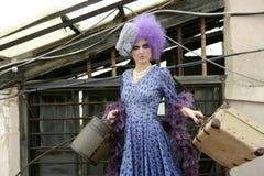 женщина авангарда способа багажа самомоднейшая Стоковые Изображения