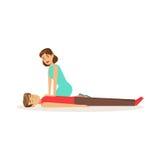 Женщина давая CPR сердечный массаж для затаившего дыхание человека, иллюстрации вектора скорой помощи процедуре по reanimation иллюстрация вектора