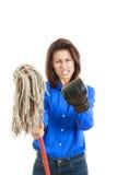 Женщина давая mop к вам или камеру с перчаткой бокса на одной руке Стоковое Изображение