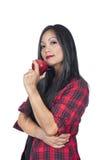 женщина азиата яблока Стоковое фото RF