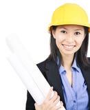 Женщина архитектора трудной шляпы Стоковые Изображения RF