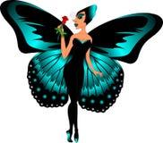 Женщина бабочки с бирюз-крылами Стоковое Изображение RF