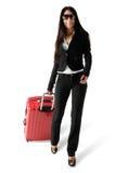 женщина багажа Стоковая Фотография