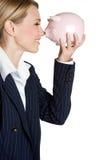 женщина банка piggy Стоковое Фото