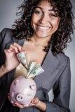 женщина банка piggy Стоковое Изображение RF