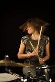 женщина барабанщика Стоковые Фото