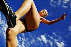 женщина бегунка угла низкая стоковое фото rf