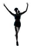 женщина бегунка jogger победоносная Стоковые Фотографии RF