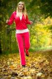 Женщина бежать в лесе осени.  Женская тренировка бегуна. Стоковое Фото