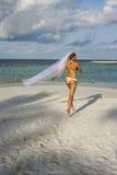 Женщина бежать в bridal вуали Стоковые Изображения RF