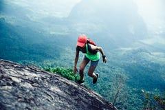 Женщина бежать до верхней части горы стоковые фотографии rf