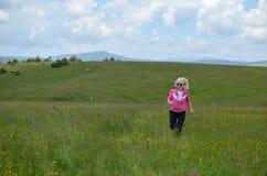 Женщина бежать на луге стоковая фотография rf