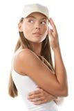 женщина бейсбольной кепки нося Стоковая Фотография