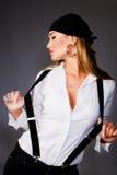женщина белокурой милой рубашки белая Стоковая Фотография RF