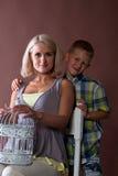 Женщина беременности с мальчиком Стоковая Фотография
