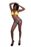 женщина бикини афроамериканца стоковое изображение rf