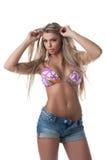женщина бикини белокурая сексуальная Стоковое фото RF
