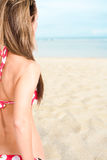 женщина блондинкы пляжа Стоковое Изображение