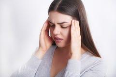женщина боли Красивый Toothache чувства девушки, челюсть, боль шеи Стоковое Фото