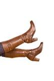 женщина ботинка коричневая s Стоковая Фотография