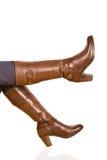 женщина ботинка коричневая s Стоковые Фото