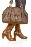 женщина ботинка коричневая s Стоковые Фотографии RF