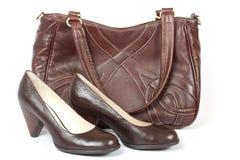 женщина ботинок мешка коричневая Стоковая Фотография