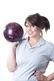 женщина боулинга шарика Стоковое фото RF