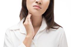 женщина боли в горле Стоковые Изображения RF