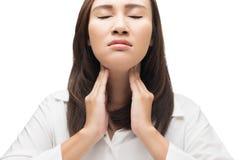 женщина боли в горле Стоковые Фото