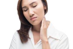 женщина боли в горле Стоковое Фото