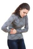 женщина боли в животе Стоковое Изображение RF