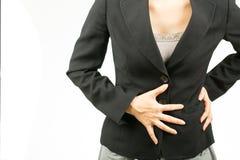 Женщина боли в животе Стоковое фото RF