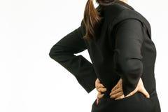 Женщина боли в спине Стоковая Фотография RF