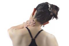 женщина боли шеи Стоковая Фотография