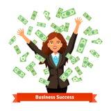 Женщина бросая зеленые деньги наличных денег доллара в воздухе бесплатная иллюстрация