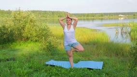 Женщина брюнета практикует йогу в представлении дерева на берег озера в утре сток-видео