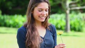 Женщина брюнет держа желтый цветок сток-видео