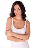 женщина брюнет нетерпеливая смотря стоковое фото rf