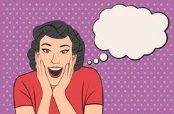 Женщина брюнет ретро кричащая Стоковое Фото