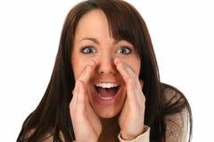 женщина брюнет hollering Стоковые Изображения RF