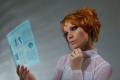 женщина будущего принципиальной схемы Стоковое Фото